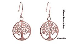 Sterling silver 18k ROSE GOLD VERMEIL TREE OF LIFE YGGDRASIL Earrings